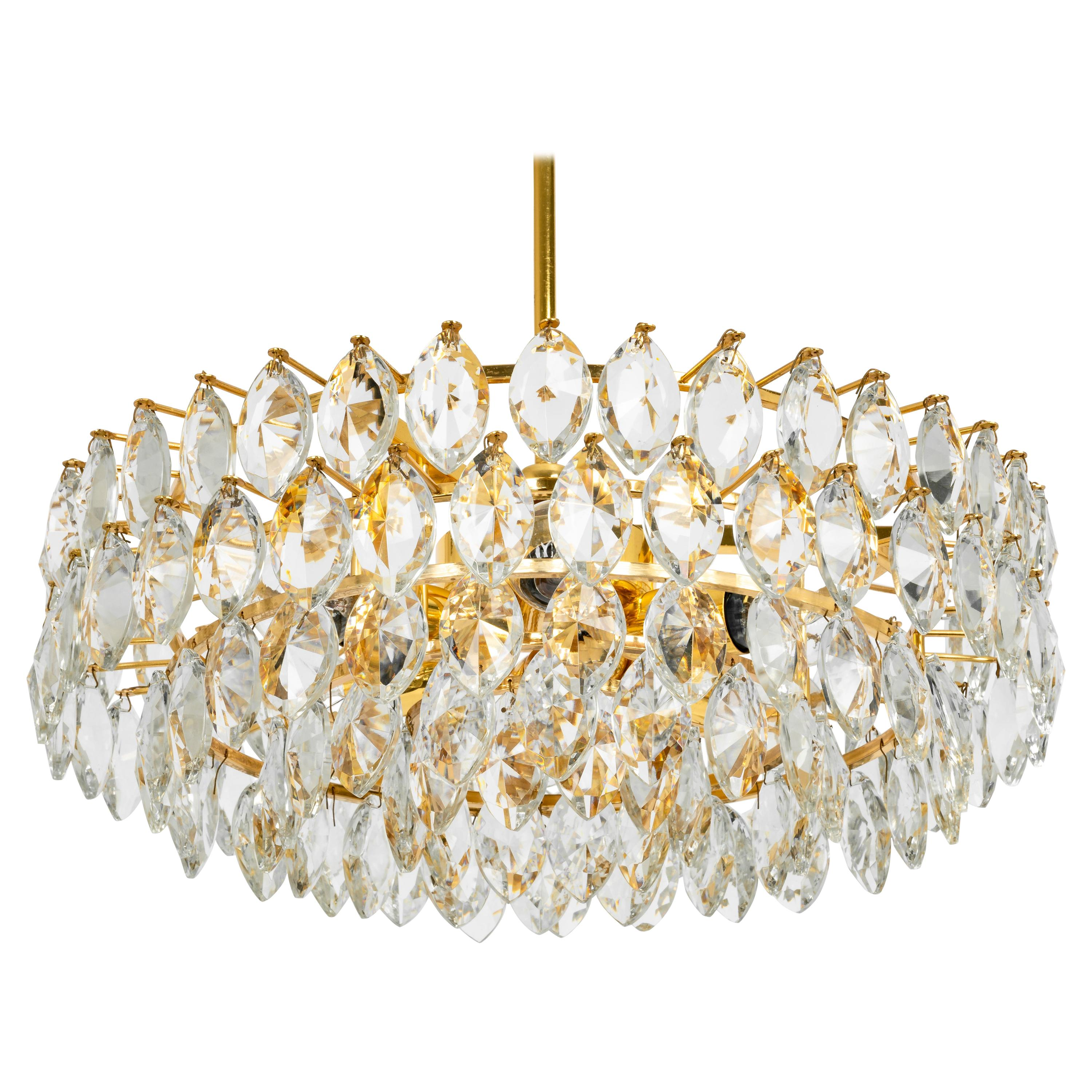 Bakalowits Chandelier Brass and Crystal Glass, Austria, 1960s
