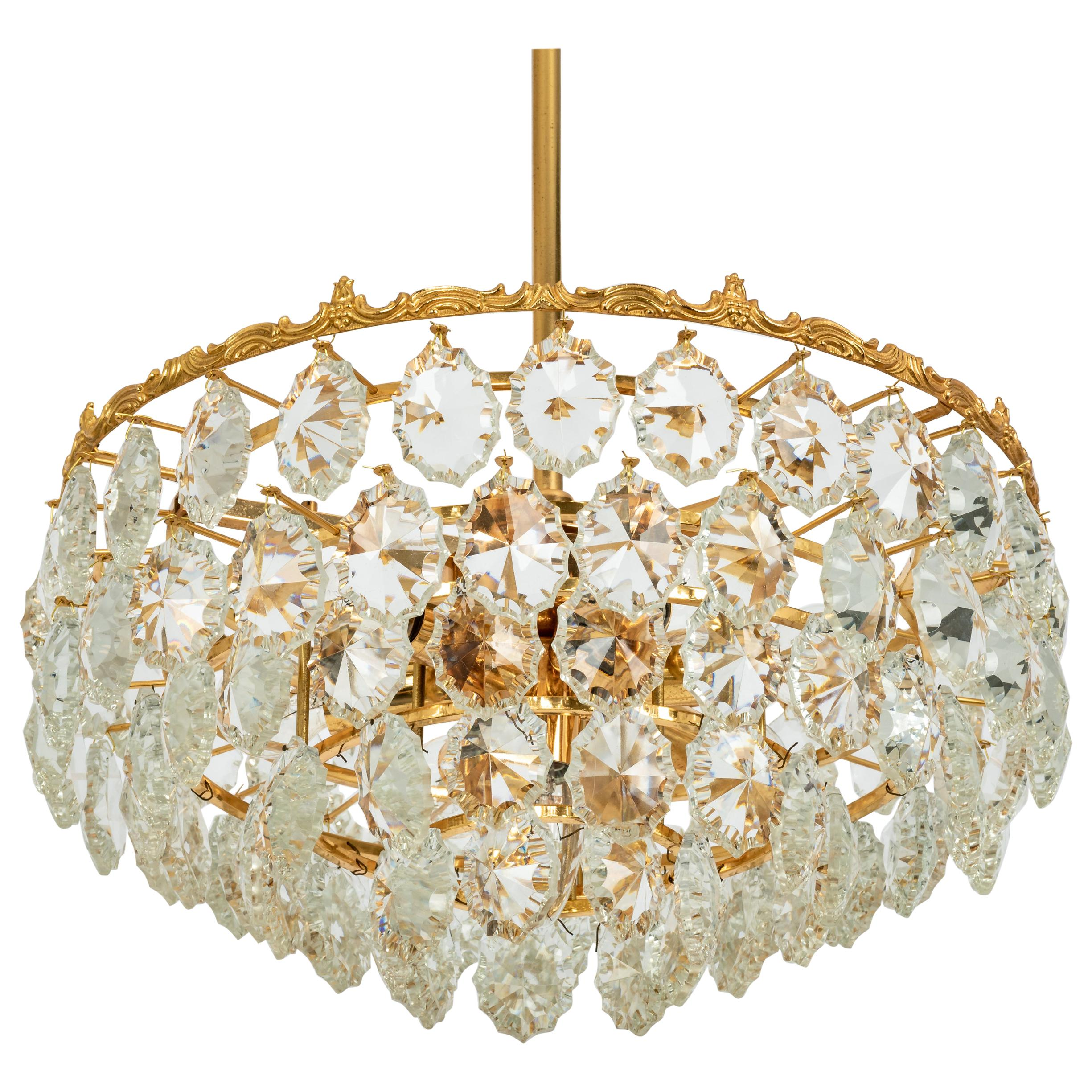 Bakalowits Chandelier, Brass and Crystal Glass, Austria, 1960s