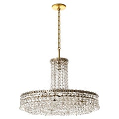 Bakalowits Chandelier Pendant Light No. 3330, Brass Nickel Glass, 1960s