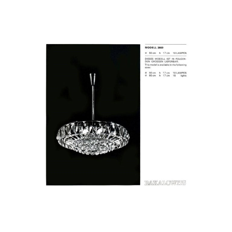 Bakalowits Chandelier Pendant Light no. 3669, Crystal Glass Nickel, 1960 For Sale 3