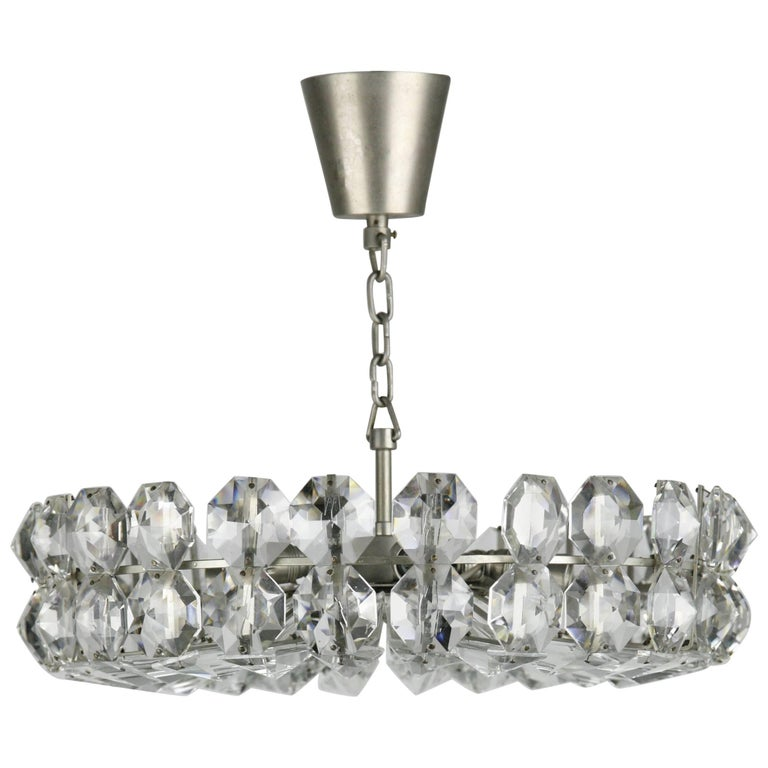 Bakalowits crystal and nickel chandelier, 1960, Austria, crystal chandelier on a chrome frame holding six candelabra bulbs this Bakalowits chandelier has tier of large diamond cut Swarovski crystals.  Rewired for the US.