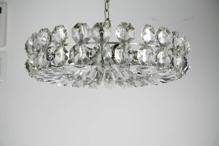 Mid-Century Modern Bakalowits Crystal and Nickel Chandelier, 1960, Austria For Sale