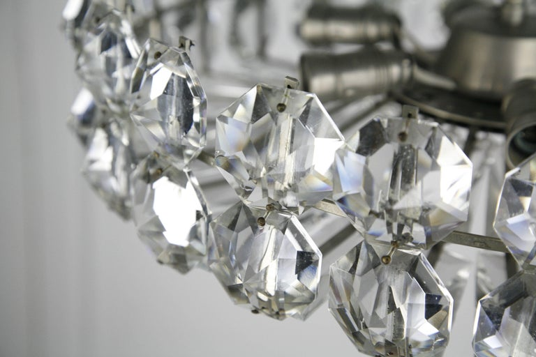 Polished Bakalowits Crystal and Nickel Chandelier, 1960, Austria For Sale