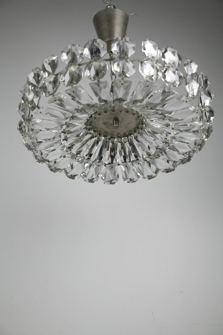 Bakalowits Crystal and Nickel Chandelier, 1960, Austria For Sale 2