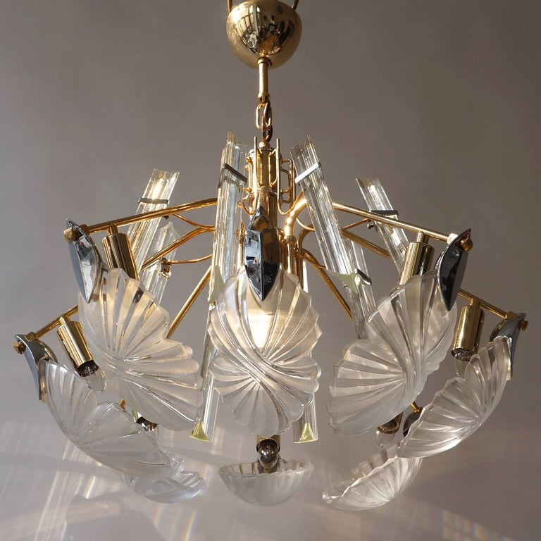 Hollywood Regency Bakalowits Gold-Plated Crystal Chandelier For Sale