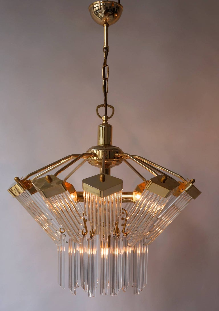 Austrian Bakalowits Gold-Plated Crystal Chandelier For Sale