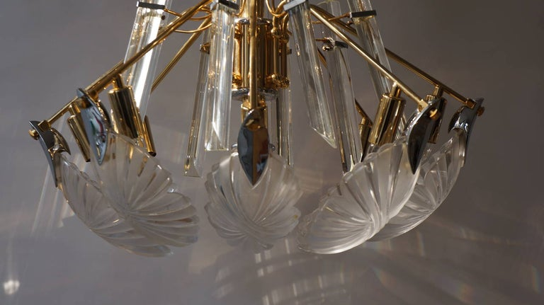 Brass Bakalowits Gold-Plated Crystal Chandelier For Sale