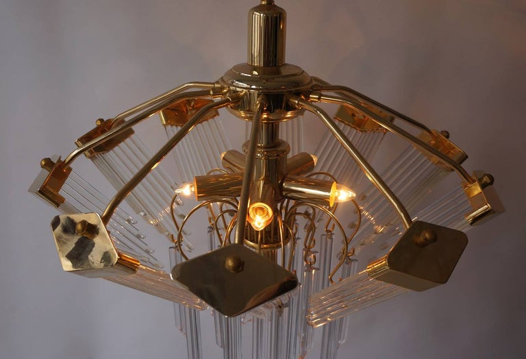 Gold Plate Bakalowits Gold-Plated Crystal Chandelier For Sale