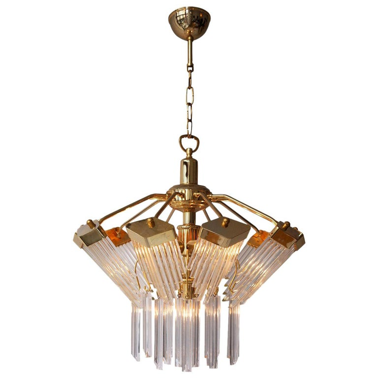 Bakalowits Gold-Plated Crystal Chandelier For Sale