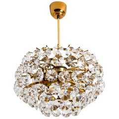 Bakalowits & Sohne Chandelier, Brass and Crystal, Vienna, 1960s