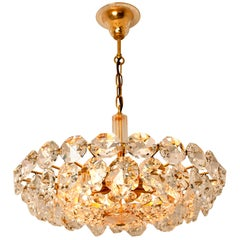 Bakalowits & Sohne Crystal Chandelier, Brass and Crystal Glass, Austria, 1960s
