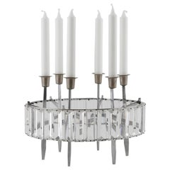 Bakalowits Table Candleholder Candelabra, Crystal Glass Nickel, 1960s
