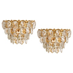 Bakalowits Wall Lights, Brass and Crystal Glass, Austria, 1960s