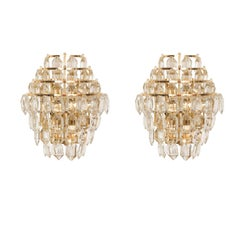Bakalowits Wall Sconce Brass and Crystal Glass, Austria, 1960s