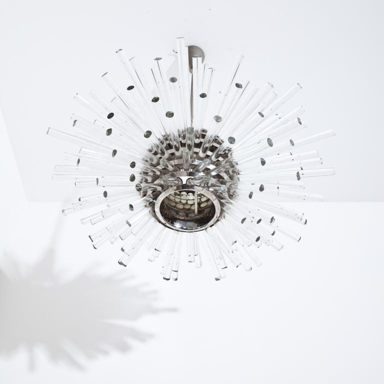 Bakalowitz 'Miracle' Sputnik Crystal Glass and Brass Chandelier, Vienna, 1960s In Good Condition For Sale In Greding, DE