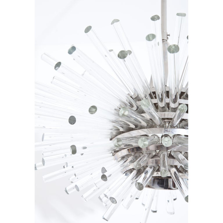 Mid-20th Century Bakalowitz 'Miracle' Sputnik Crystal Glass and Brass Chandelier, Vienna, 1960s For Sale
