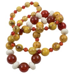 Bakelite and Lucite Extra Long Necklace Assorted Fall Colors