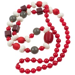 Bakelite and Lucite Long Necklace Gray White Red