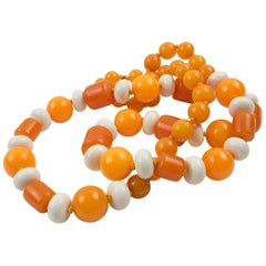 Bakelite and Lucite Necklace Sunny Orange Colors