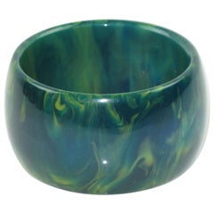 Bakelite Blue-Moon Marble Bangle Bracelet Oversized Wide Shape