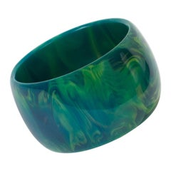Bakelite Blue-Moon Oversized Bangle Bracelet