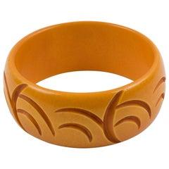 Bakelite Bracelet Bangle Deep Crescent Carved Butterscotch Color
