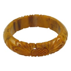 Bakelite Bracelet Bangle Deep Floral Carved Banana Brown Marble Color