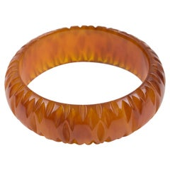Bakelite Bracelet Bangle Deeply Carved Cinnamon Brown Marble Color