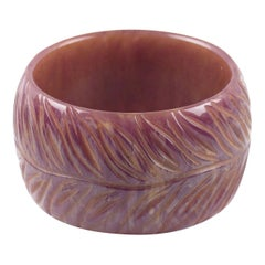 Bakelite Bracelet Bangle Oversized Deeply Carved Purple Stardust Marble