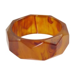 Bakelite Bracelet Bangle Root-beer Marble Carved Faceted Design