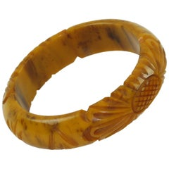 Bakelite Carved Bracelet Bangle Banana Brown Marble