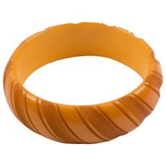 Bakelite Carved Butterscotch Bracelet Bangle