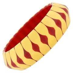 "Bakelite Cherry Red and Creamed Corn ""Bow Tie Motif"" Bracelet"