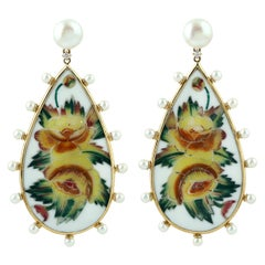 Bakelite Earring with Mosaic Flower with Diamonds and Pearls