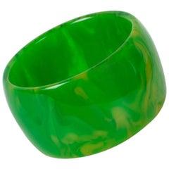 Bakelite Green Grass Marble Oversized Bangle Bracelet