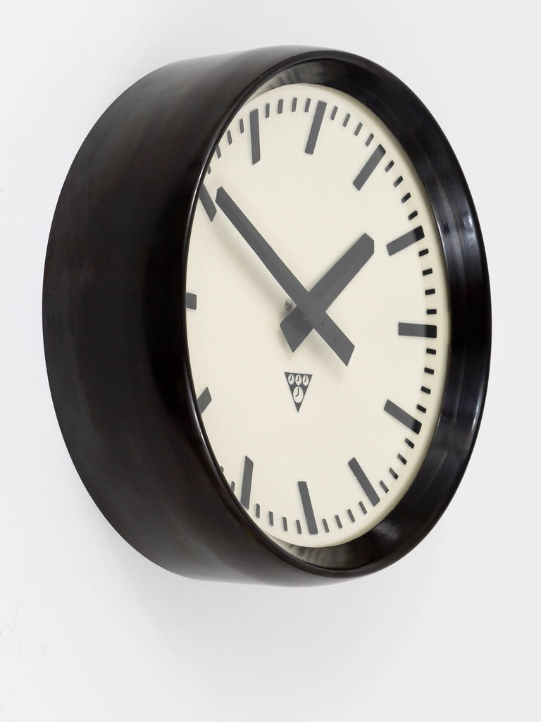 Mid-20th Century Bakelite Industrial Factory or Train Station Wall Clock from the 1940s For Sale