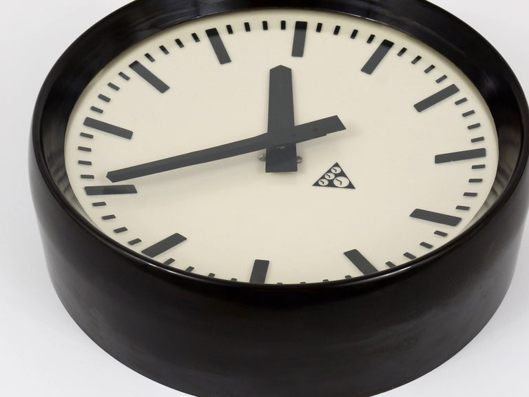 Glass Bakelite Industrial Factory or Train Station Wall Clock from the 1940s For Sale