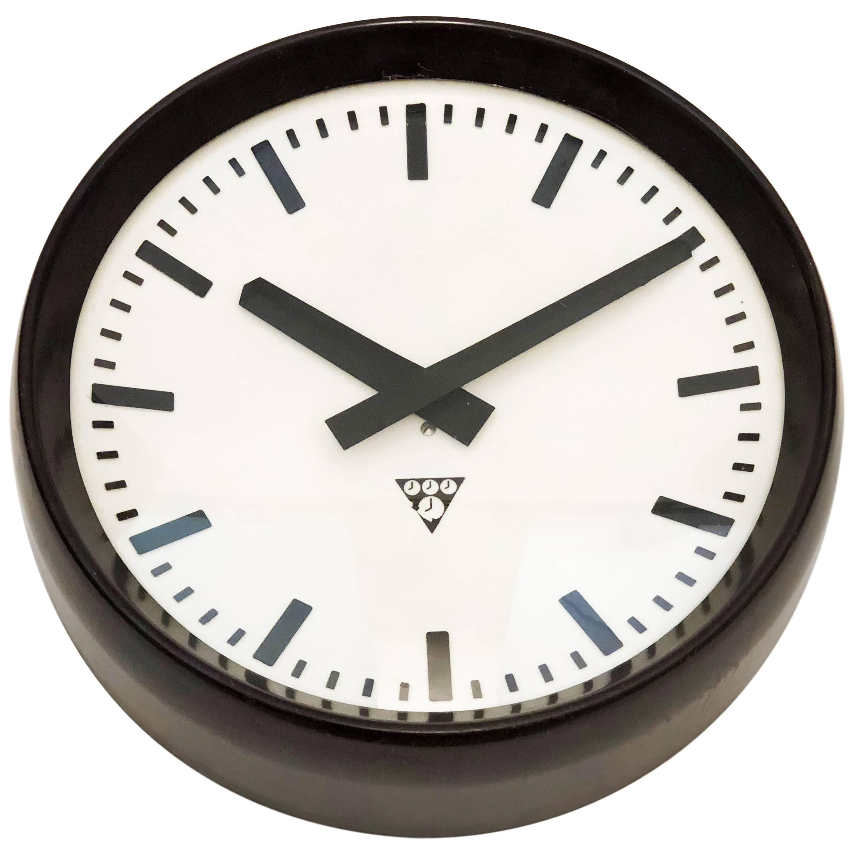 Bakelite Industrial Factory Wall Clock by Pragotron