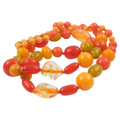 Bakelite Lucite Long Necklace Sunny Yellow Orange & Glitter Colors