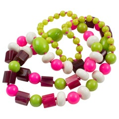 Bakelite & Lucite Long Necklace White Hot Pink Apple Green Beads