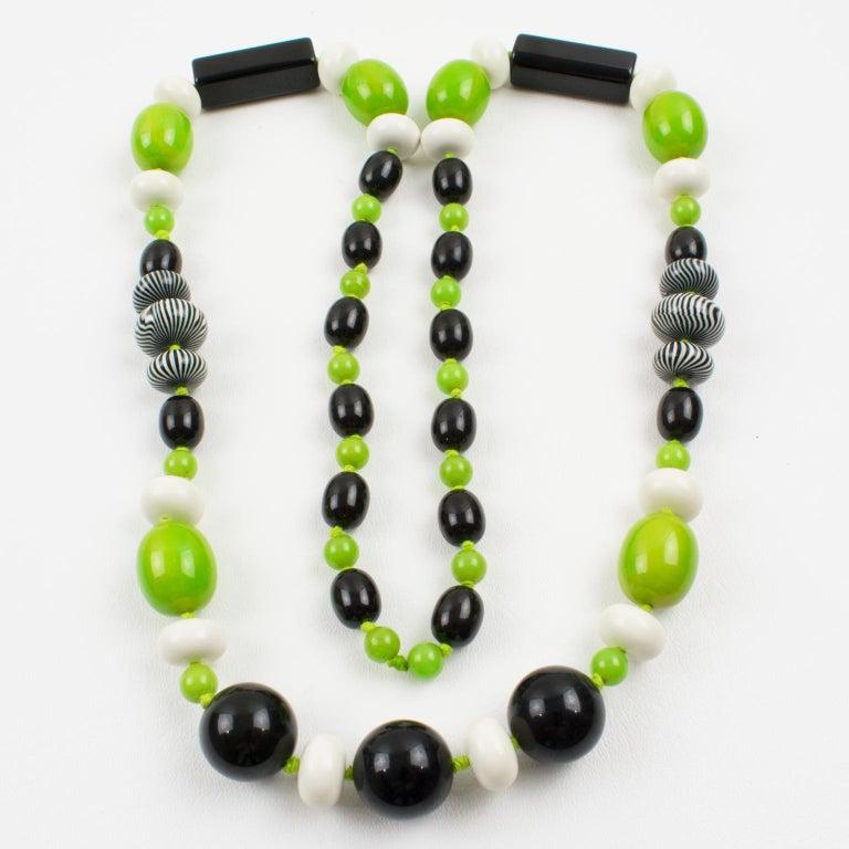 Bakelite & Lucite Necklace Extra Long Shape Black-White & Apple Green Beads For Sale 1