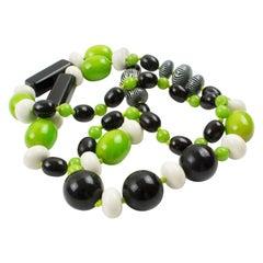 Bakelite & Lucite Necklace Extra Long Shape Black-White & Apple Green Beads