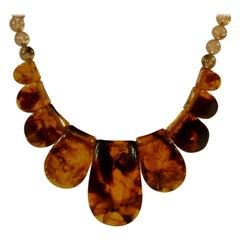 Bakelite necklace in horn optic, France, around 1920