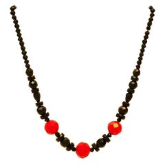 Bakelite necklace with facetted beads, gradient, Art Deco, France around 1920