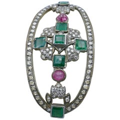 Bakelite or Celluloid Emerald, Sapphire and Diamond Bangle