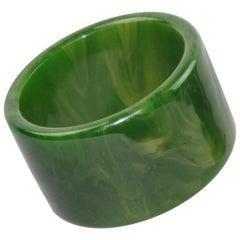 Bakelite Oversized Bracelet Bangle Green Moss Marble
