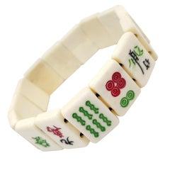 Bakelite Painted Mahjong Tile Card Link Bracelet, Circa 1900s