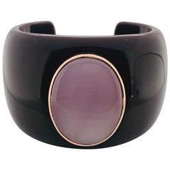 Bakelite Pink Quartz Rose Gold 18 Karat Bracelet