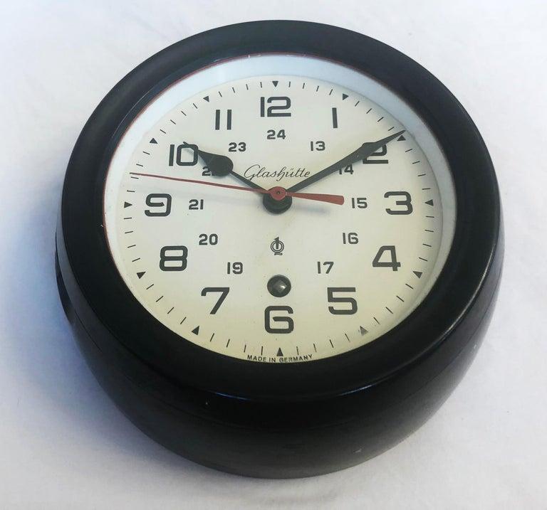 Industrial Bakelite Ship Wall Clock by Glashütte For Sale