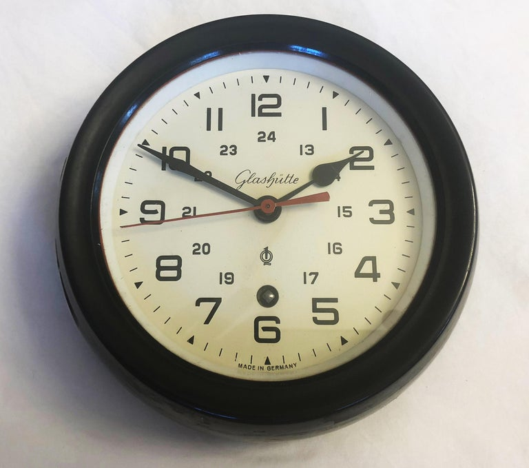 Glass Bakelite Ship Wall Clock by Glashütte For Sale